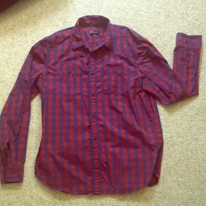 Blue & Red Checkered Button Down